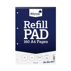 Silvine Refill Pad Headbound Perforated Punched Quadrille Squared 5mm 75gsm A4 Ref A4RPX - Pack 6