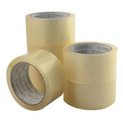 Q-Connect Low Noise Polypropylene Packaging Tape 50mm x 66m Clear (Pack of 6) Ref KF04382