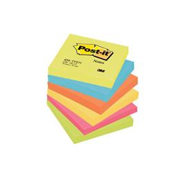 Post-it Colour Notes Pad of 100 Sheets 76x76mm Energetic Palette Rainbow Colours Ref 654TFEN Pack 6
