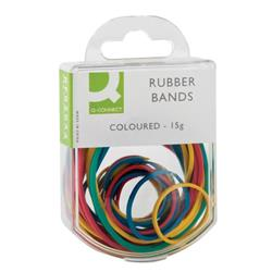 Q-Connect Rubber Bands Assorted Sizes Coloured 15g (Pack of 10) Ref KF02032Q