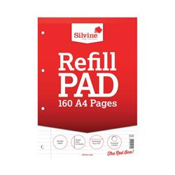 Silvine Refill Pad Headbound Perforated Punched Feint Ruled Margin 160pp 75gsm A4 Ref A4RPFM - Pack 6