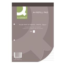Q-Connect Feint Ruled Margin Headbound Refill Pad 200 Pages A4 (Pack of 5) Ref KF02234