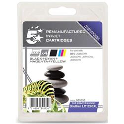 5 Star Office Remanufactured Inkjet Cartridge 3500pp 4-Colour [Brother LC1280XLVALP Alt] [Pack 4]