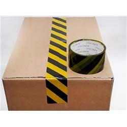 Printed Tape HAZARD BOPP 50mm 33m 38mu Black /Yellow THZP503338 [Pack 6]