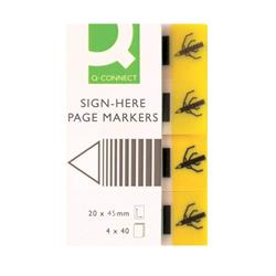 Q-Connect Quick Signature Markers 20 x 45mm Yellow (Pack of 160) Ref KF01979