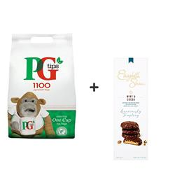 PG Tips Tea Bags Pyramid 1 Cup Ref 67395661 [Pack 1100] x2 -  FREE Elisabeth Shaw Biscuits Box x 2
