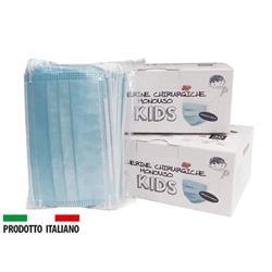 Mascherine Chirurgiche per bambini - Certificazione CE - tipo II - Made in Italy - celeste - conf. 30