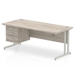 Impulse 1800 Rectangle Silver Cant Leg Desk Grey Oak 1 x 3 Drawer Fixed Ped