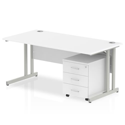 Impulse 1600 Straight Cantilever Workstation with Three drawer mobile Pedestal Bundle White