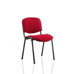 ISO Stacking Chair Stackable Pre-assembled Fabric Red Black Frame Ref BR000064