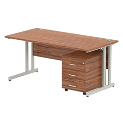 Impulse 1600 Straight Cantilever Workstation with Three drawer mobile Pedestal Bundle Walnut